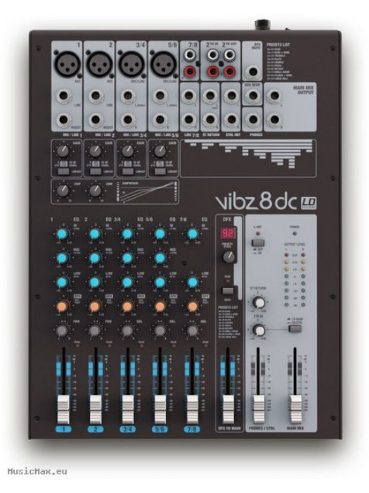LD SYSTEMS LDVIBZ8DC VIBZ 8 DC 8-CHANNEL MIXER WITH DFX