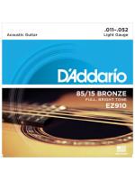 Acoustic Guitar Strings D'ADDARIO EZ910 85/15 011-052 LIGHT ACOUSTIC GUITAR STRINGS/ EZ910