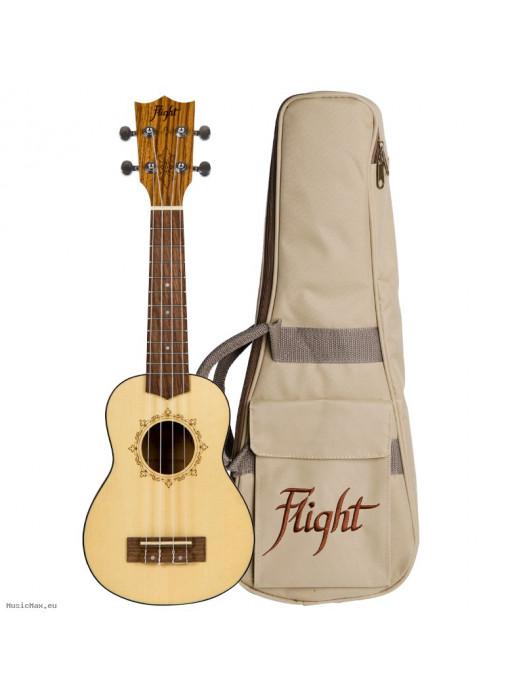 Ukulele Soprano FLIGHT GUITARS DUS320 SP/ZEB SOPRANO UKULELE+ BAG/ NAT